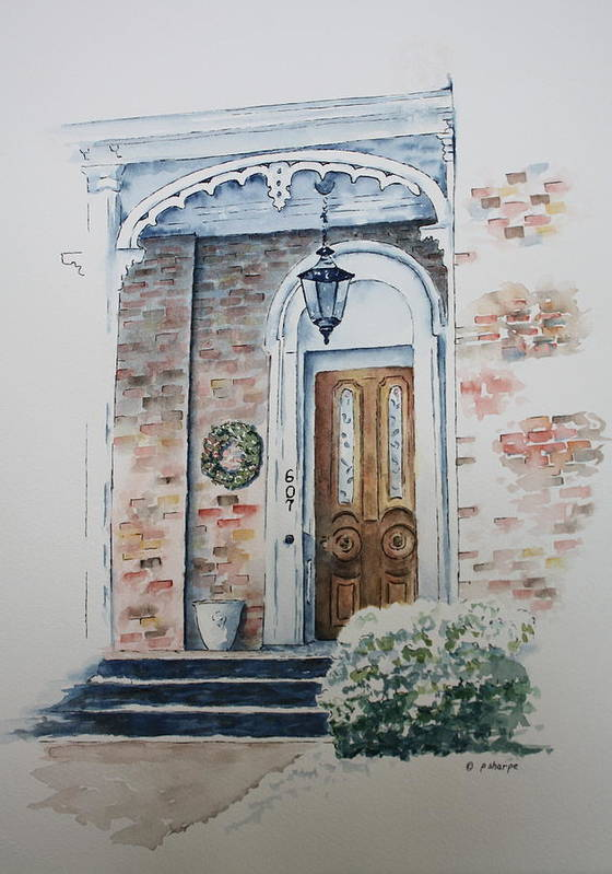 Historic Home Art Print featuring the painting Welcome Christmas by Patsy Sharpe