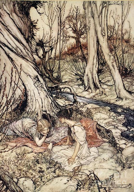 Primroses; Primrose; Friends; Friend; Female; Character; Characters; Helena; Hermia; Woods; Forest; Stream; Shakespeare Art Print featuring the drawing Where Often You And I Upon Fain Primrose Beds Were Wont To Lie by Arthur Rackham