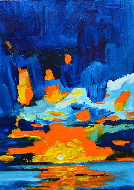 Art Art Print featuring the painting Yellow Orange Blue Sunset Landscape by Patricia Awapara
