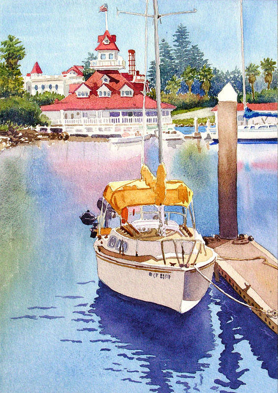 Sailboat Art Print featuring the painting Yellow Sailboat And Coronado Boathouse by Mary Helmreich