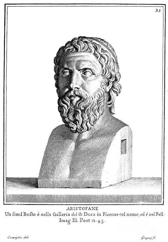 4th Century B.c Art Print featuring the photograph Aristophanes (c450-c388 B.c.) by Granger