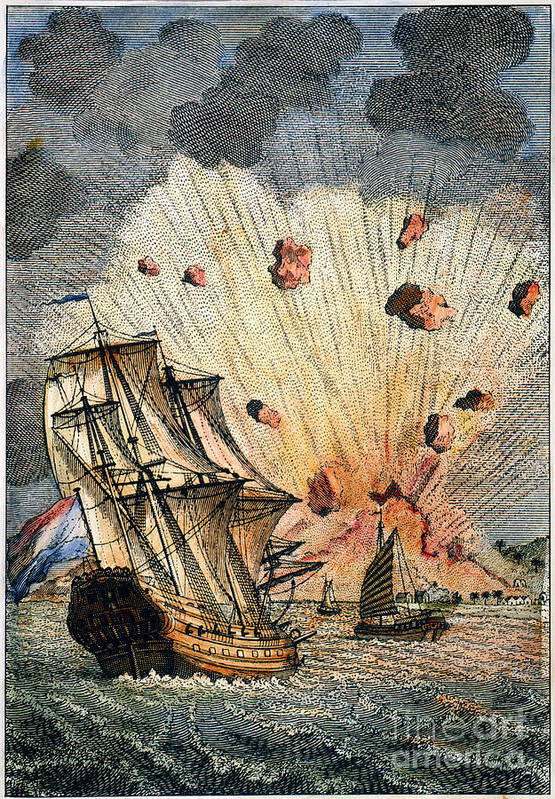 1673 Art Print featuring the photograph Eruption Of Gamkonora by Granger