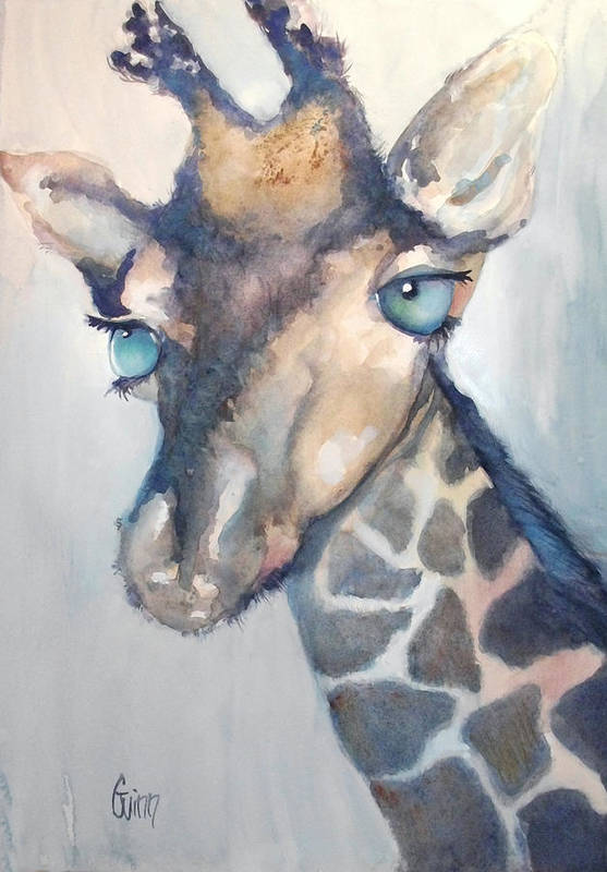 Blue Eyes Art Print featuring the painting Giraffe With Blue Eyes by Shane  Guinn 8396a85cd