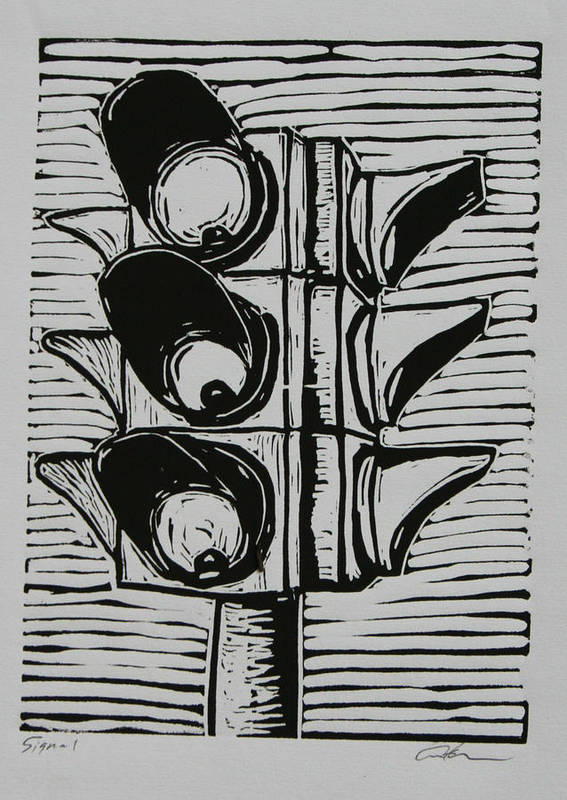 Stoplight Print featuring the drawing Signal by William Cauthern