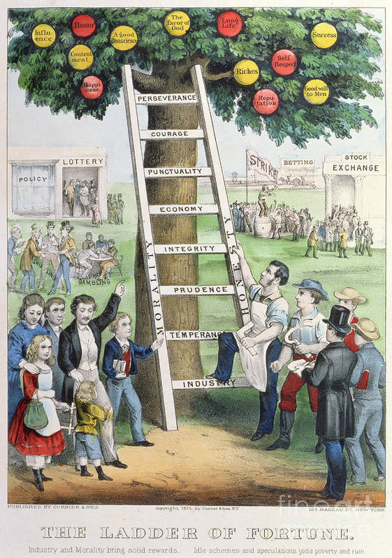 The Ladder Of Fortune Art Print featuring the painting The Ladder Of Fortune by Currier and Ives