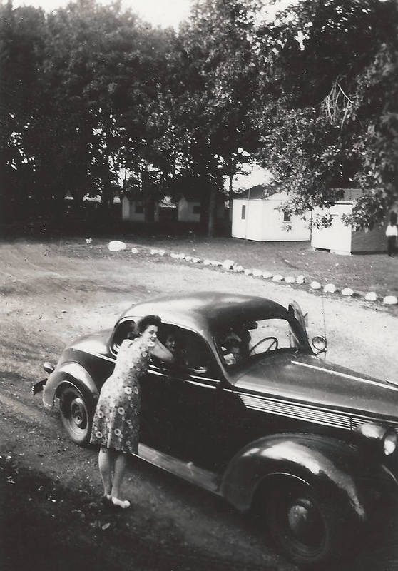 Digitized Art Print featuring the photograph Vintage Auto And Girl by Alan Espasandin
