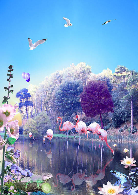 Landscape Art Print featuring the digital art pink Flamingoes by Emily Campbell