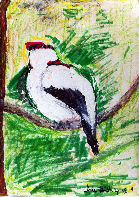 Bird Print featuring the painting Untitled by Iris Gill