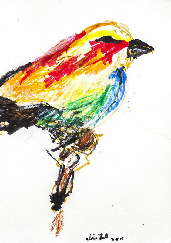 Bird Art Print featuring the drawing Untitled by Iris Gill