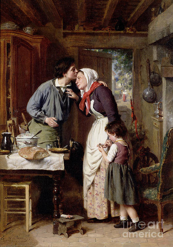 Devoted; Son; Interior; Mother; Child; Female; Male; Kiss; Affectionate; Affection; Cottage; Kitchen; Bread; Casserole; Filal; Love; Motherhood; Rustic; Rual; Amour Art Print featuring the painting A Son's Devotion by Pierre Jean Edmond Castan