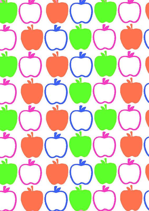 Louisa Art Print featuring the digital art Apples by Louisa Knight