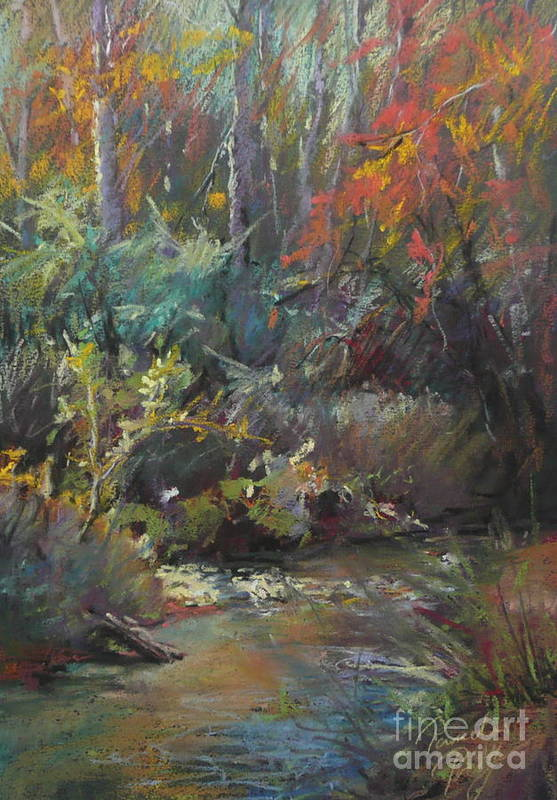 Landscape Art Print featuring the painting Autumn Stream by Pamela Pretty