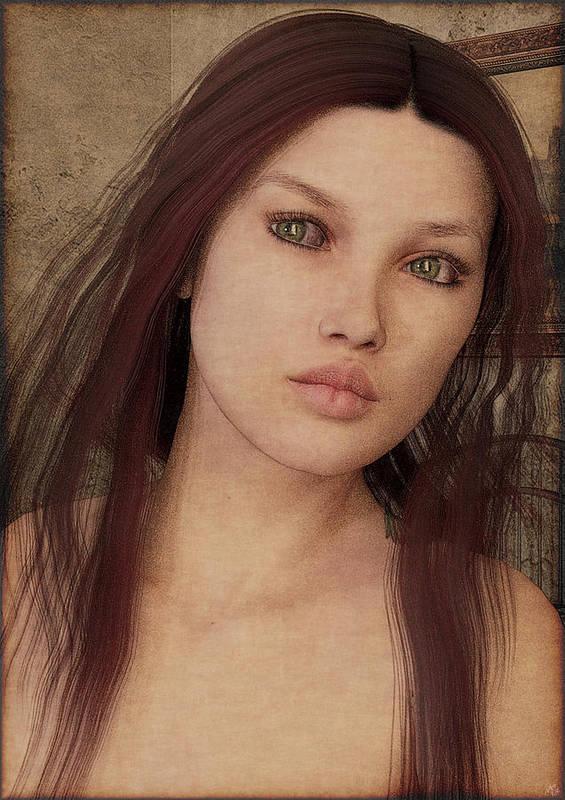 Digital Art Art Print featuring the painting Bedroom Portrait by Maynard Ellis