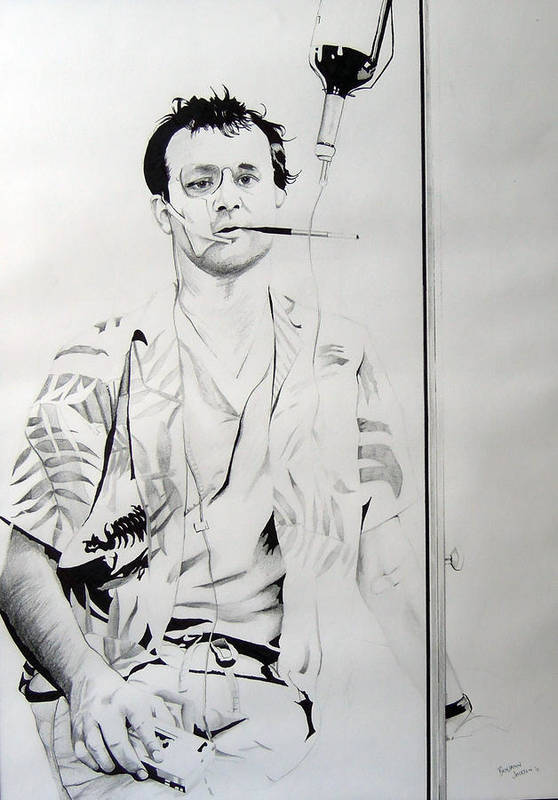 Bill Murray Art Print featuring the drawing Bill Murray From The Movie 'where The Buffalo Roam' by Ben Jackson