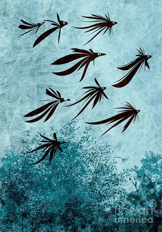 Birds Art Print featuring the digital art Birdeeze -v03 by Variance Collections