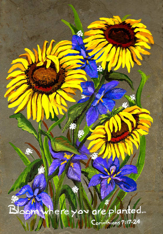 Flowers Art Print featuring the painting Bloom by Elaine Hodges