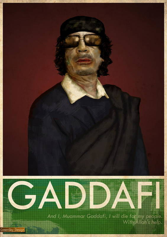 People Art Print featuring the painting Colonel Gaddafi by Mark Anderson