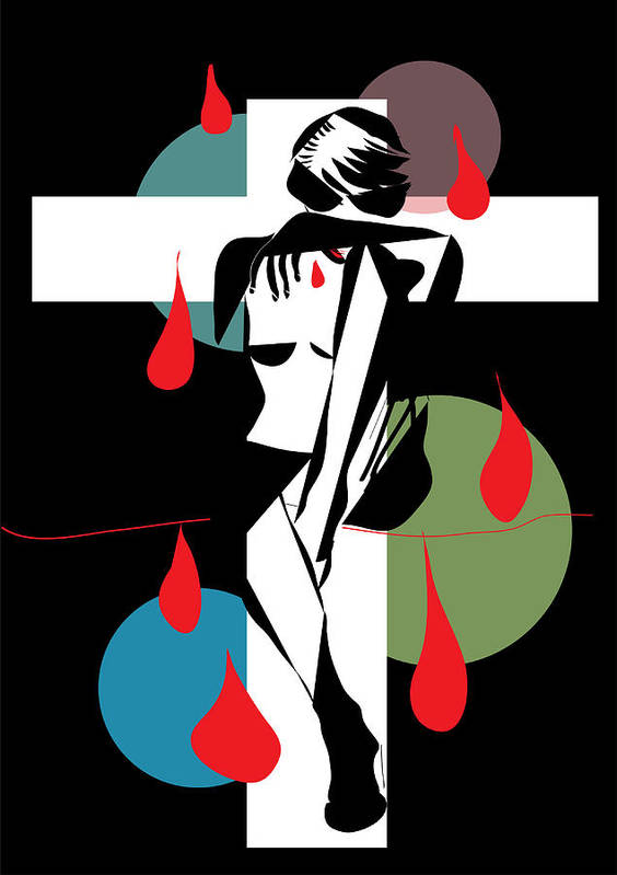 Abstract Art Print featuring the digital art Cross ...cry..bleeding ..888 by Frank Gulsftream