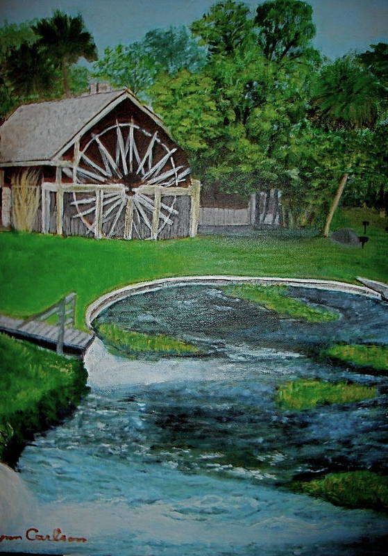 Landscape Art Print featuring the painting Deleon Springs by Lynn Carlson