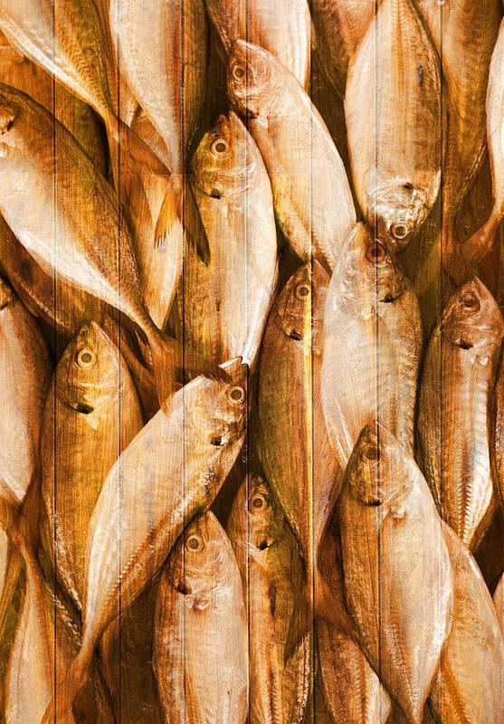 Backdrop Print featuring the photograph Fish Pattern On Wood by Setsiri Silapasuwanchai