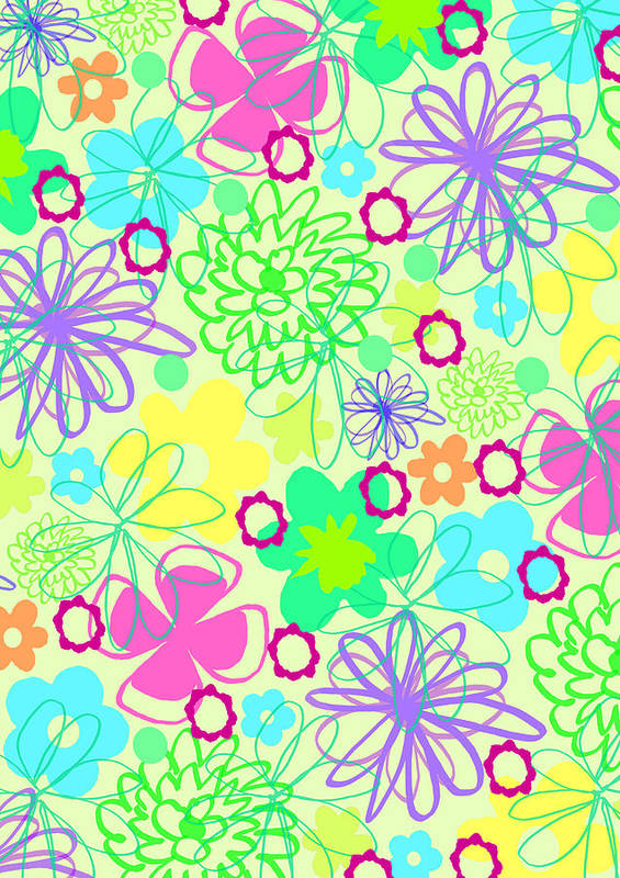 Flower Art Print featuring the digital art Graphic Flowers by Louisa Knight