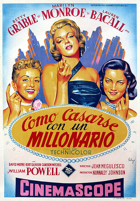 1950s Poster Art Art Print featuring the photograph How To Marry A Millionaire, Betty by Everett