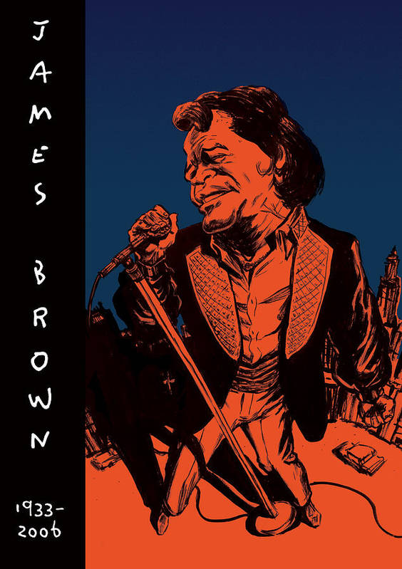 James Art Print featuring the drawing James Brown by Thomas Seltzer