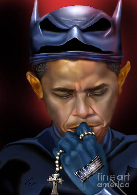 President Barack Obama Art Print featuring the painting Mad Men Series 1 Of 6 - President Obama The Dark Knight by Reggie Duffie