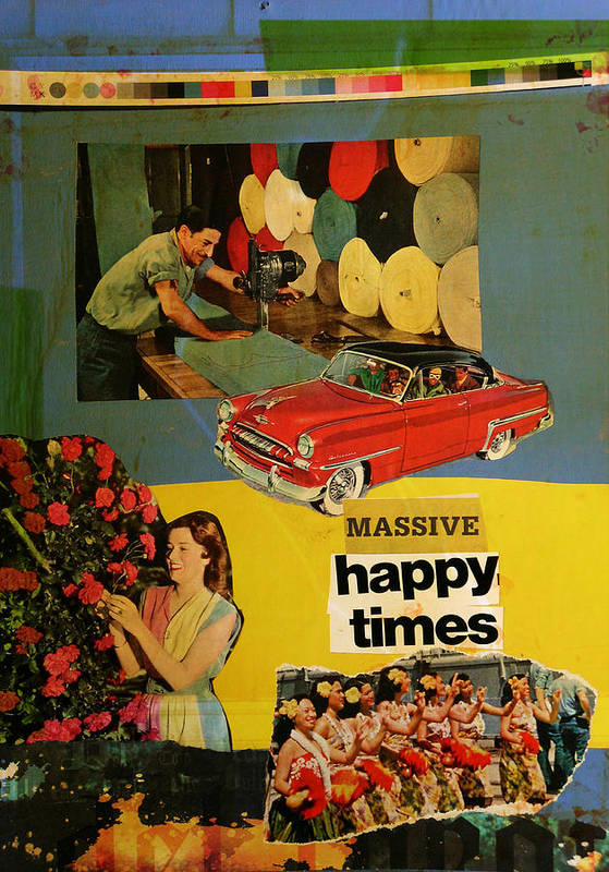 Collage Print featuring the mixed media Massive Happy Times by Adam Kissel