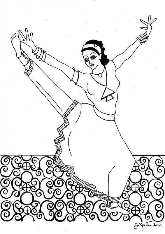 Moroccan Dancer Art Print featuring the drawing Moroccan Dancer by John Keaton
