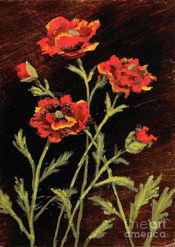 Orange Art Print featuring the painting Orange Poppies II by Vic Mastis