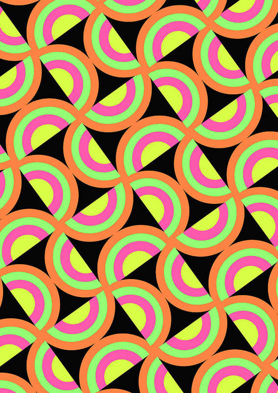 Psychedelic Squares (digital) By Louisa Knight (contemporary Artist) Art Print featuring the digital art Psychedelic Squares by Louisa Knight