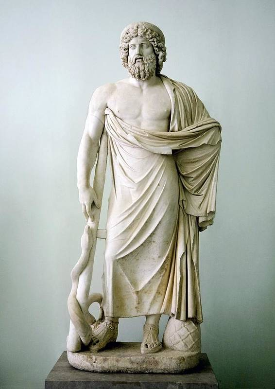 Asclepius Art Print featuring the photograph Roman Statue Of Asclepius by Sheila Terry