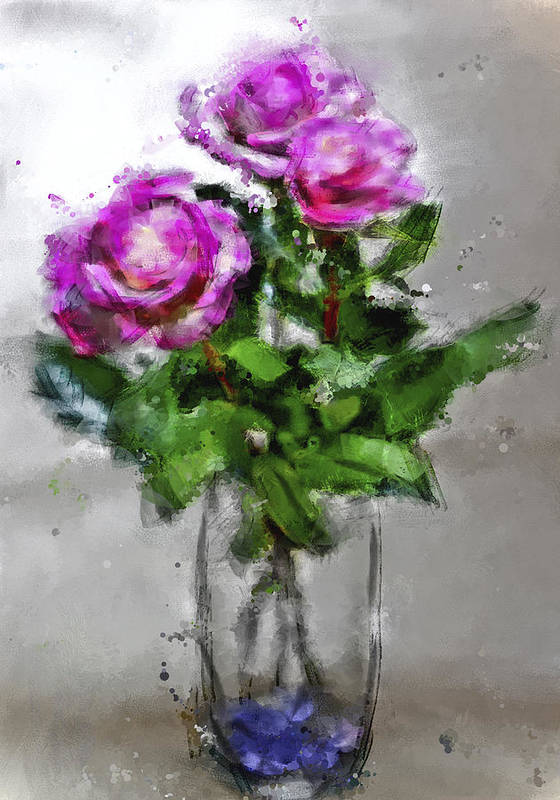 Digital Art Art Print featuring the digital art Roses In A Jar by Jill Balsam
