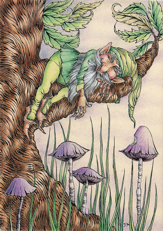 Toadstool House Art Print featuring the painting Sleeping Gnome by Jayne Kennedy