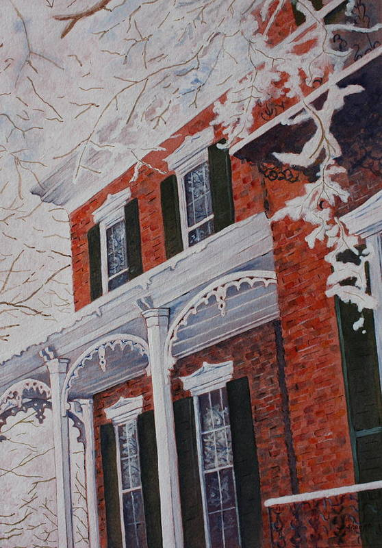 Historic Snowy Mansion Art Print featuring the painting Snowy Yesteryear by Patsy Sharpe