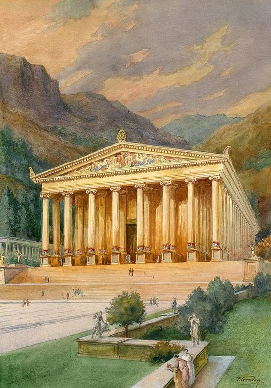 Seven Wonders Of The Ancient World; Temple Of Diana; Artemis; Ephesus; Shrine Art Print featuring the painting Temple Of Diana by English School