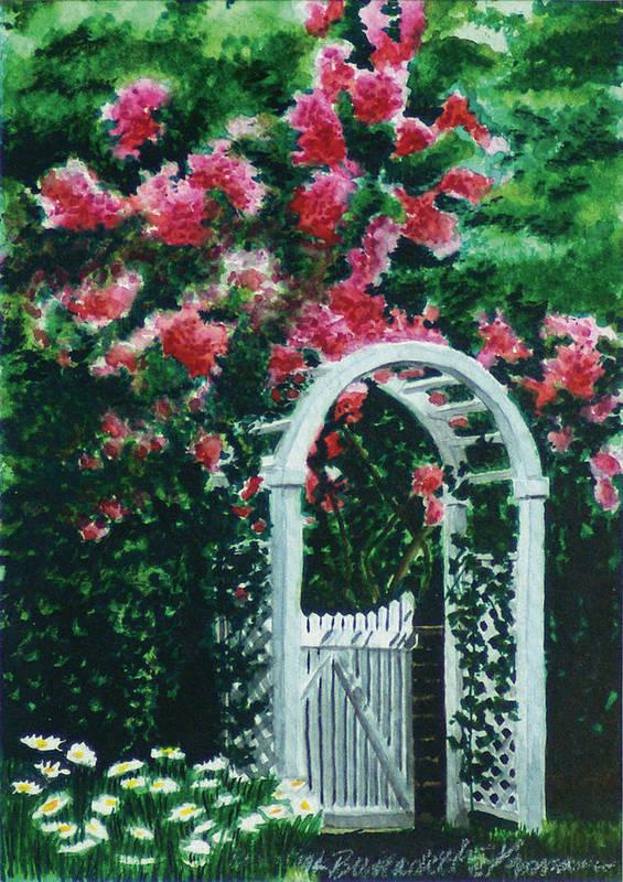 Flowers Art Print featuring the painting The Garden Gate by Bernadette Kazmarski