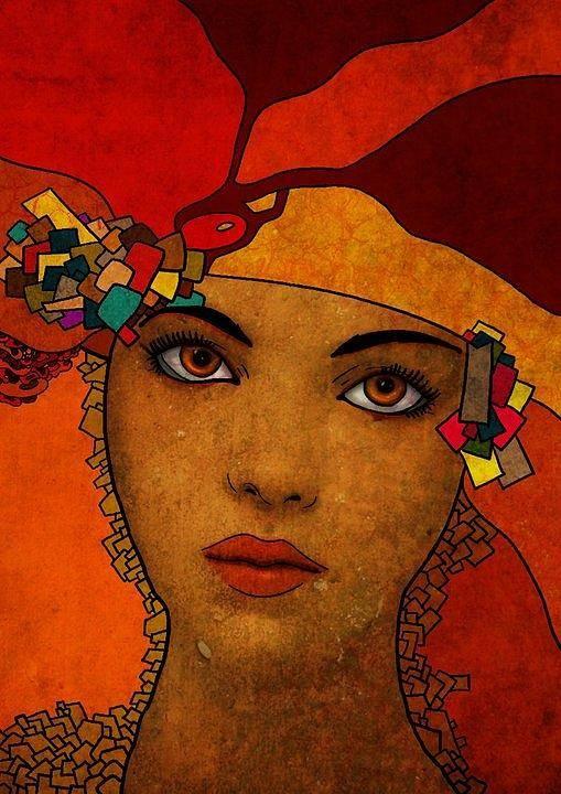 Digital Art Art Print featuring the digital art The Woman Ruby by Karima Ben cheikh