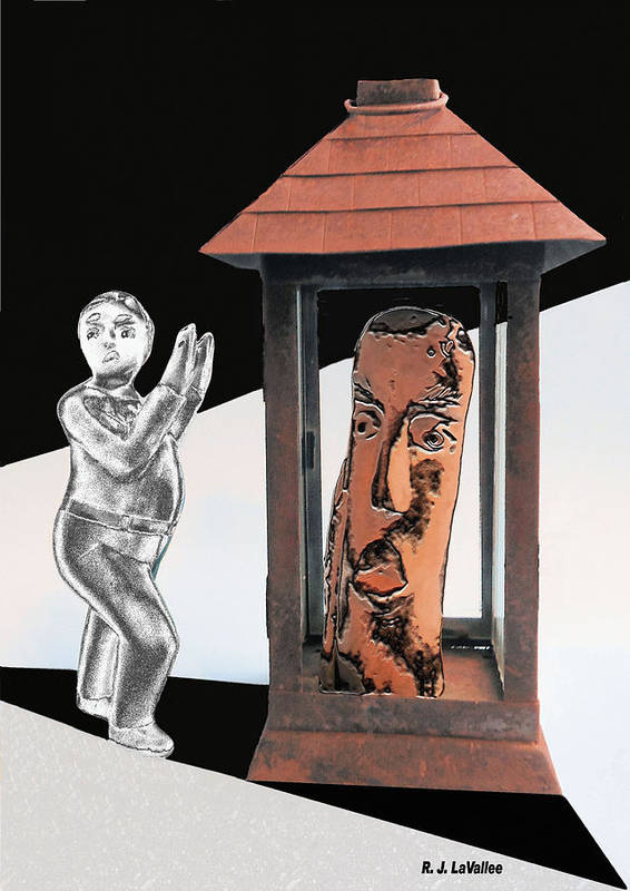Wood Carving Art Print featuring the photograph Two Trapped In Imagination by Roland LaVallee