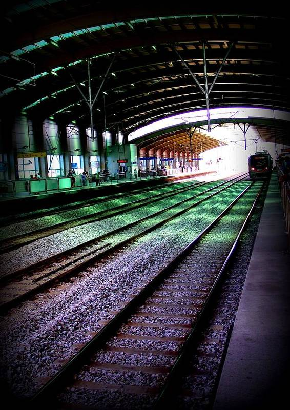 Train Art Print featuring the photograph Waiting by Shawna Gibson