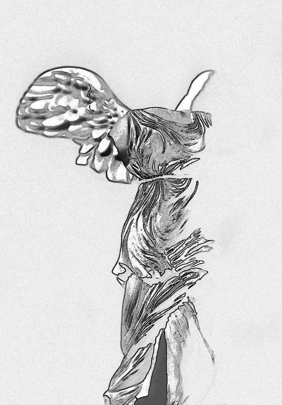 Digital Art Art Print featuring the photograph Winged Victory Of Samothrace by Manolis Tsantakis