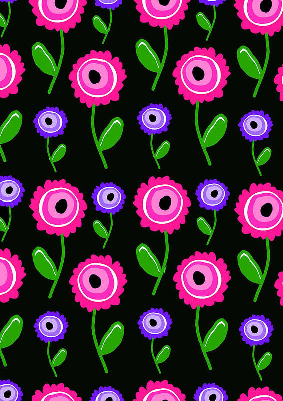 Young Florals (digital) By Louisa Knight (contemporary Artist) Art Print featuring the digital art Young Florals by Louisa Knight