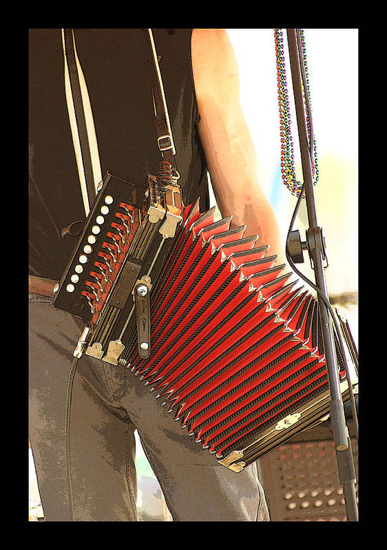 Music Art Print featuring the photograph Zydeco Red Accordian by Margie Avellino
