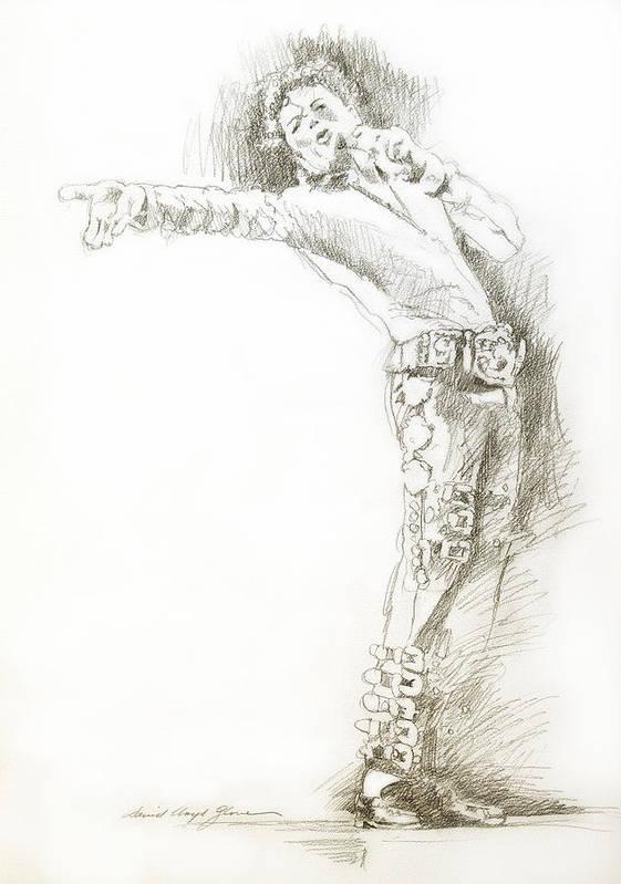 Michael Jackson Art Print featuring the drawing Michael Jackson Live by David Lloyd Glover