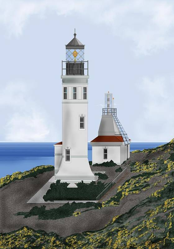 Lighthouse Art Print featuring the painting Anacapa Lighthouse California by Anne Norskog