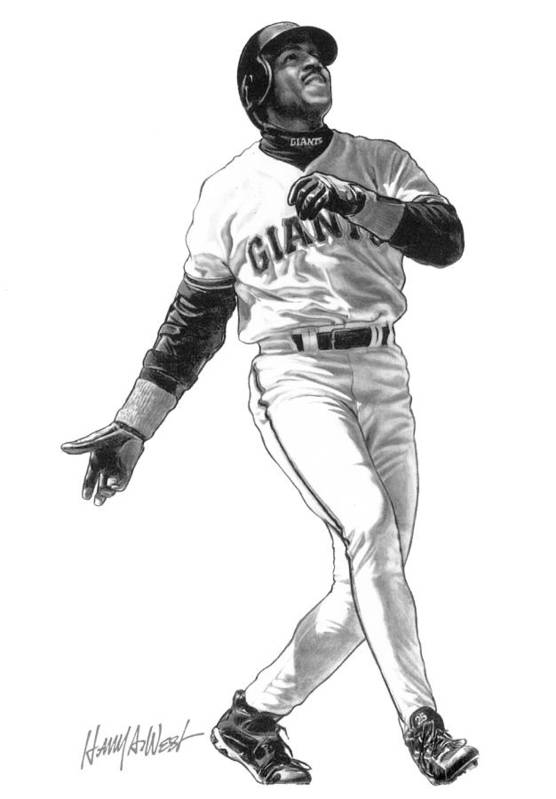 Barry Bonds Art Print featuring the drawing Barry Bonds by Harry West