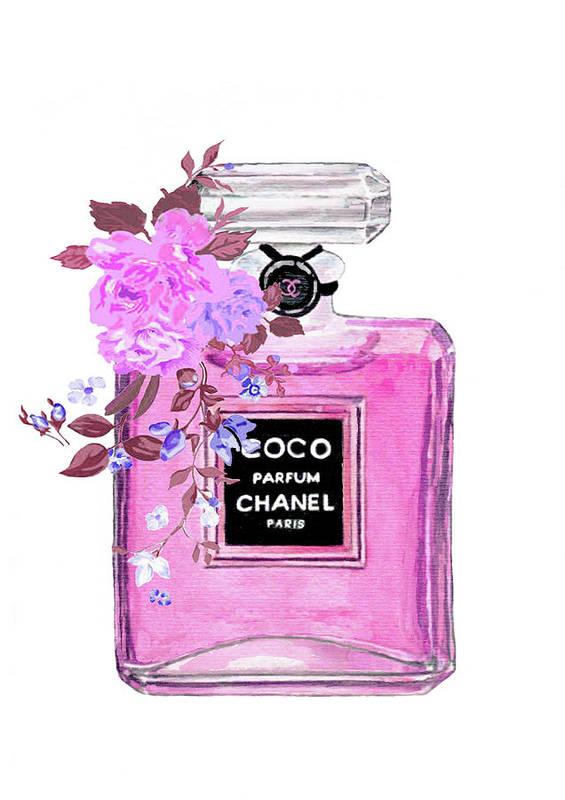 Coco Chanel Perfume Art Print By Del Art