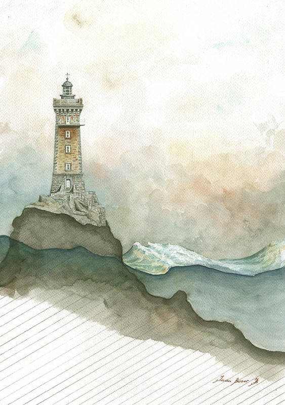 La Vieille Lighthouse Art Print featuring the painting La Vieille Lighthouse by Juan Bosco