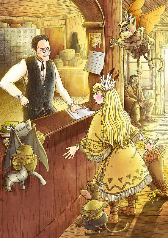 Post Office Art Print featuring the painting Tammy And The Postmaster by Reynold Jay